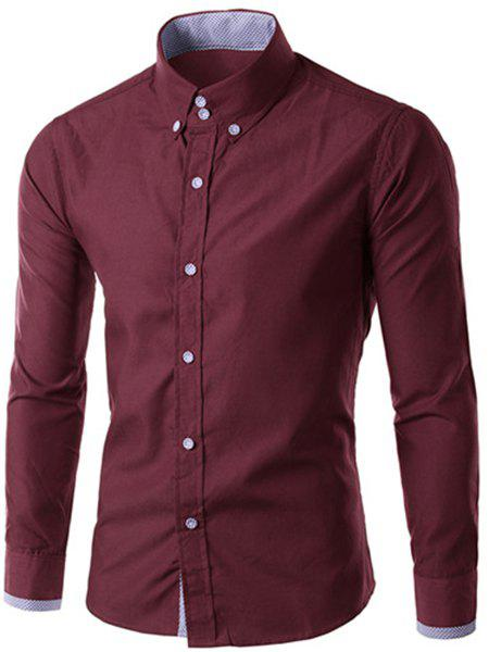 Men's Slimming Long Sleeves Checked Button Turn Down Collar Shirt - DARK RED M