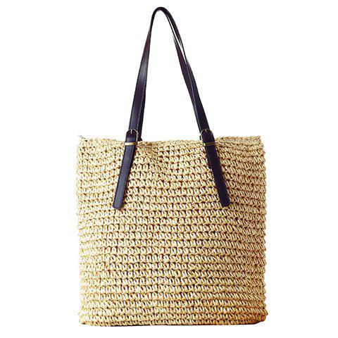 Simple Solid Color and Weaving Design Shoulder Bag For Women -  LIGHT GOLD