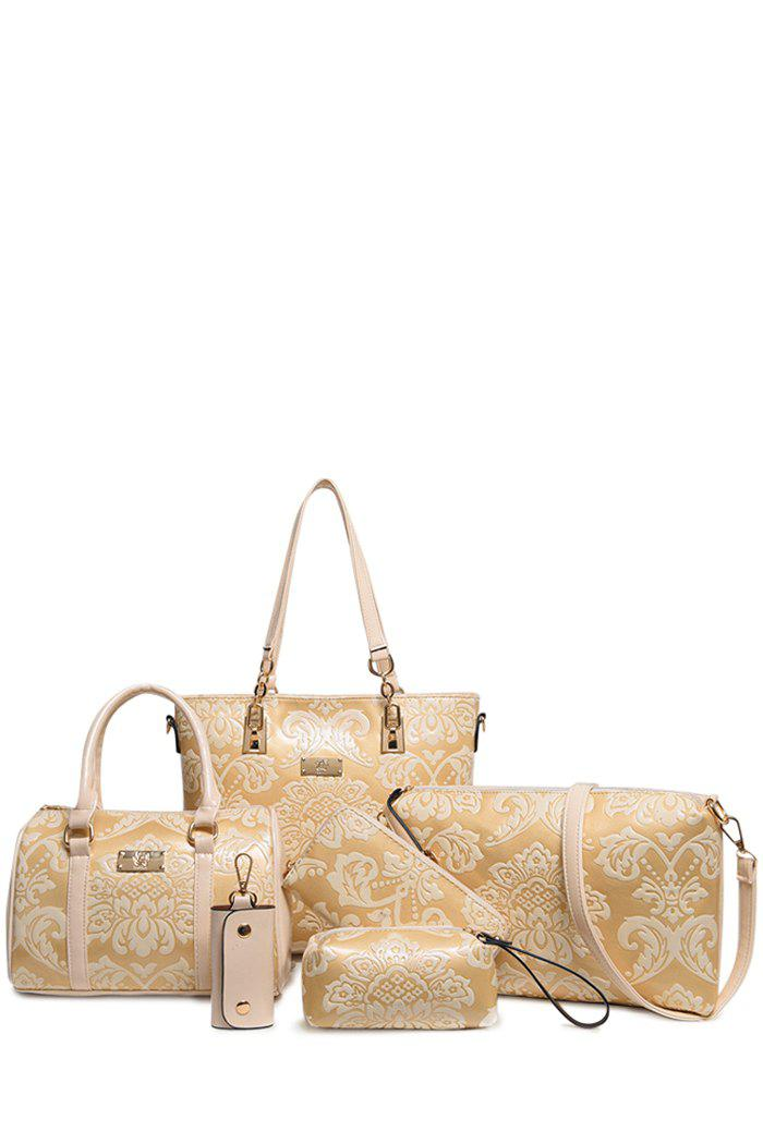 Chinese Style Metallic and Floral Embossed Design Shoulder Bag For Women - OFF WHITE