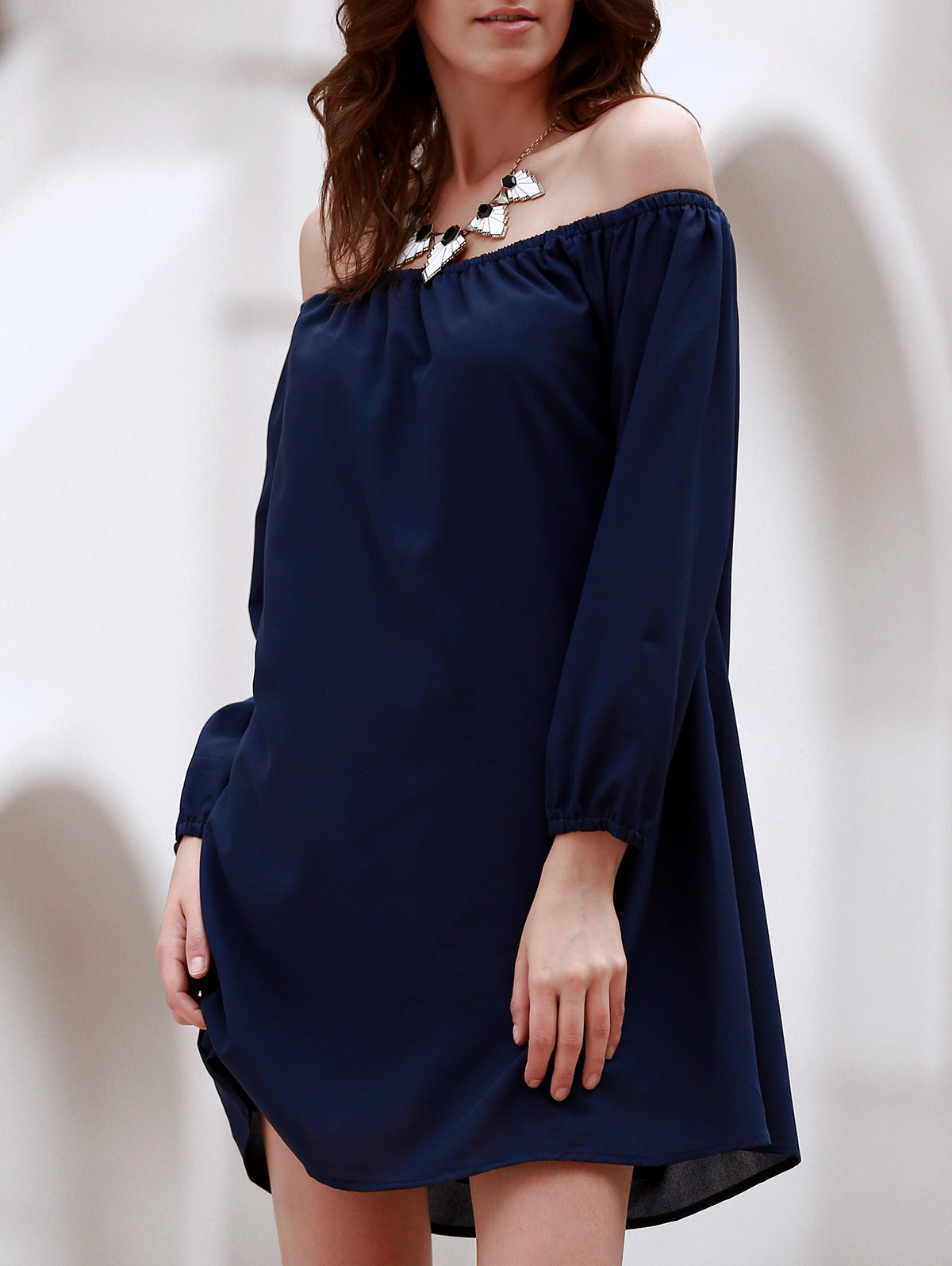 Sexy Off The Shoulder Long Sleeve Solid Color Women's Chiffon Dress