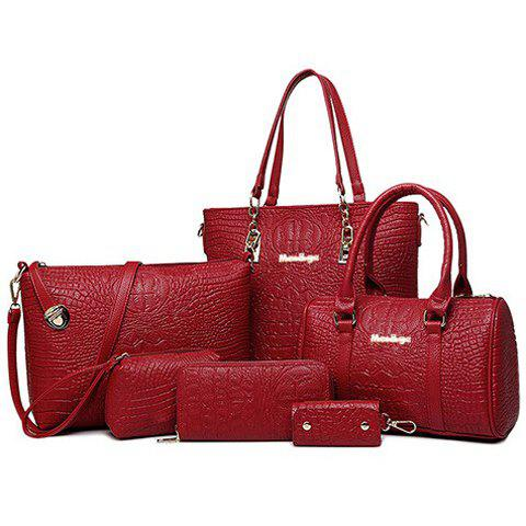 Simple Crocodile Print and PU Leather Design Tote Bag For Women - WINE RED
