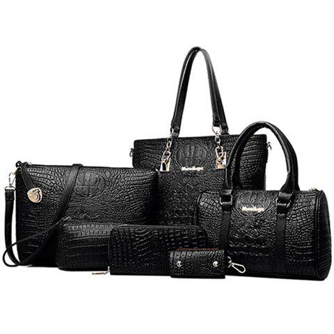 Simple Crocodile Print and PU Leather Design Tote Bag For Women - BLACK