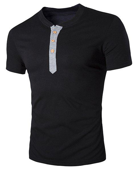 V-Neck Buttons Embellished Short Sleeve Men's T-Shirt - BLACK M