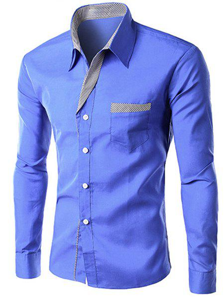 Men's Slimming Long Sleeves Stripe Design Turn Down Collar Shirt - BLUE XL
