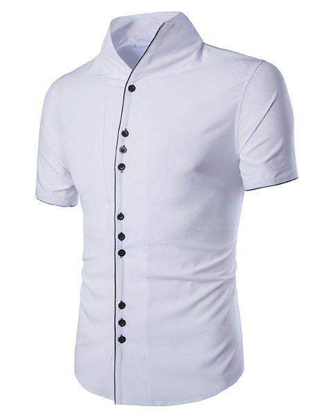 Stand Collar Buttons Embellished Short Sleeve Men's Shirt - WHITE M