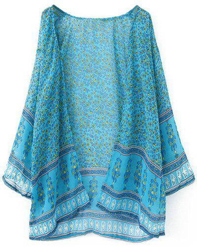 Trendy Long Sleeve Printed Chiffon Women's Kimono Blouse - LIGHT BLUE M