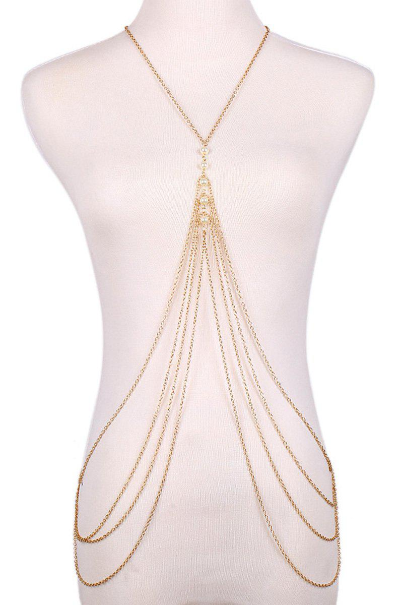 Fashionable Faux Pearl Decorated Multi-Layered Body Chain For Women - GOLDEN