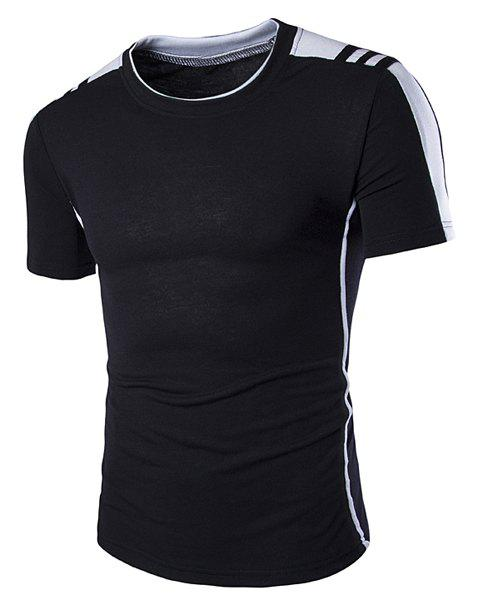 Round Neck Shoulder Splicing Design Short Sleeve Men's T-Shirt