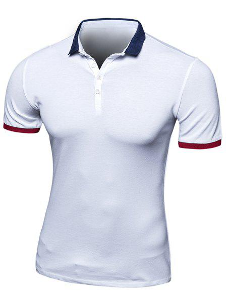 Simplicity Turn-Down Collar Color Block Spliced Short Sleeve Men's Polo T-Shirt - WHITE M