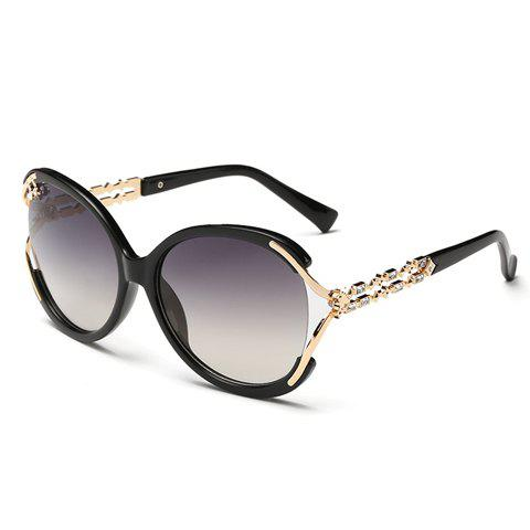 Chic Rhinestone and Hollow Out Embellished Women's Sunglasses - BLACK