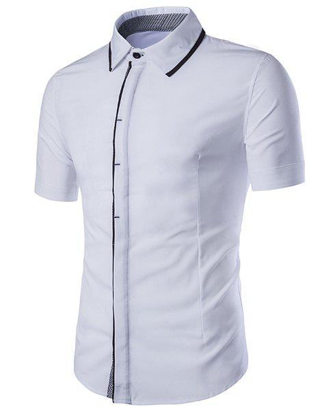 Turn-Down Collar Splicing Checked Edging Design Short Sleeve Men's Shirt - WHITE L