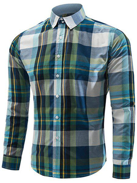 Slimming Long Sleeves Checked Turn Down Collar Shirt For Men - BLACKISH GREEN L