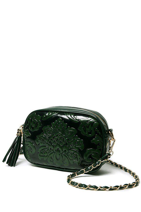 Chinese Style Floral Embossed And Tassel Design Crossbody Bag For Women GREEN In Crossbody Bags ...