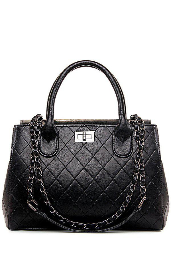 Stylish Checked and Chains Design Tote Bag For Women