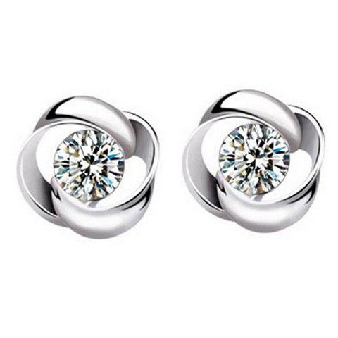 Alloy Hollow Out Rhinestone Earrings - SILVER