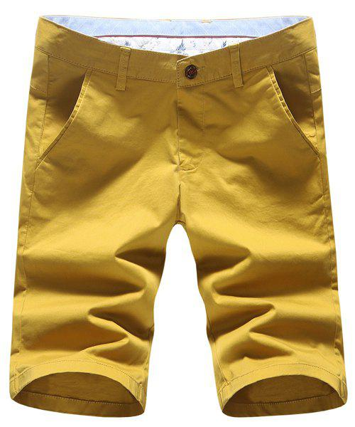 Plus Size Straight Leg Embroidered Patch Slimming Men's Zipper Fly Shorts - YELLOW 32
