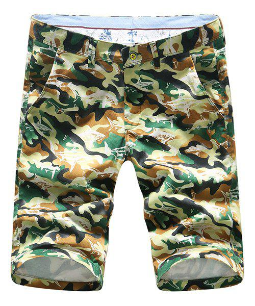 Vogue Plus Size Straight Leg Zipper Fly Men's Slimming Camo Shorts