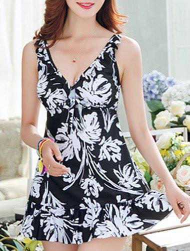 Sweet Women's V-Neck Abstract Printed One-Piece Swimsuit - BLACK L