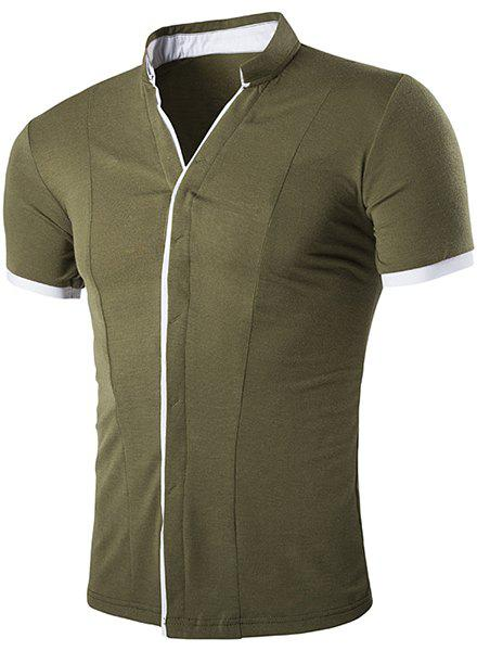 Stand Collar Color Block Splicing Short Sleeve Men's Shirt - ARMY GREEN M