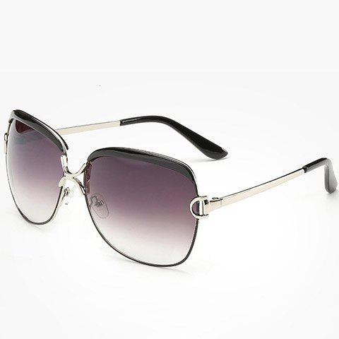Chic Hollow Letter D Shape Embellished Silver Match Women's Sunglasses - SILVER