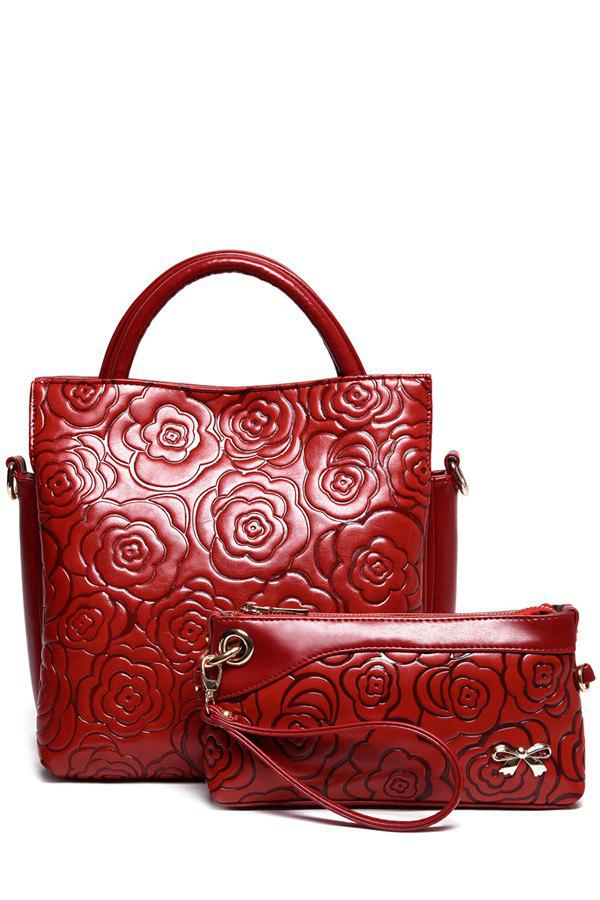 Elegant Floral Embossing and Solid Color Design Tote Bag For Women - WINE RED
