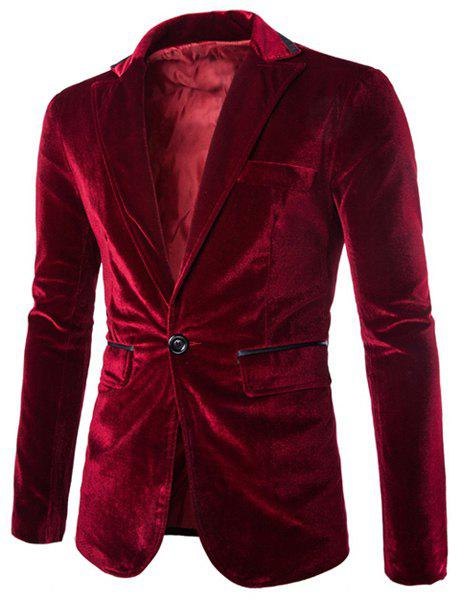 Slimming Lapel Vogue Pocket Edging Design Long Sleeve Men's Corduroy Blazer - WINE RED 2XL