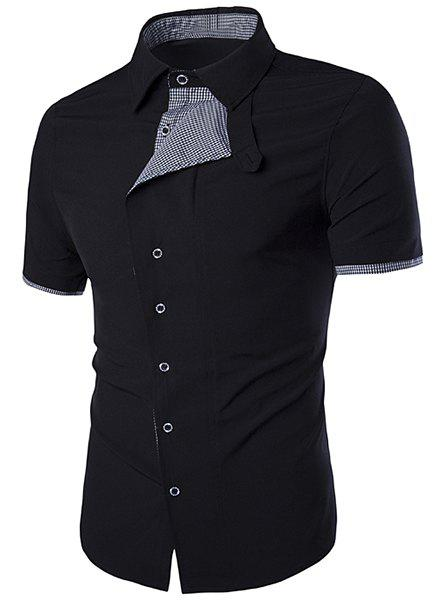 Turn-Down Collar Oblique Buttons Design Checked Spliced Short Sleeve Men's Shirt - BLACK M