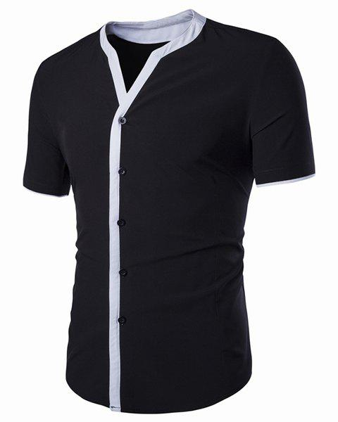 V-Neck Edging Spliced Design Short Sleeve Men's Shirt - BLACK L