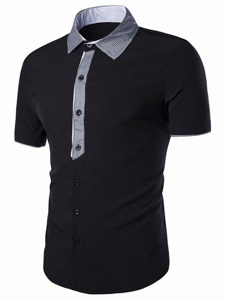 Turn-Down Collar Checked Spliced Short Sleeve Men's Shirt - BLACK L
