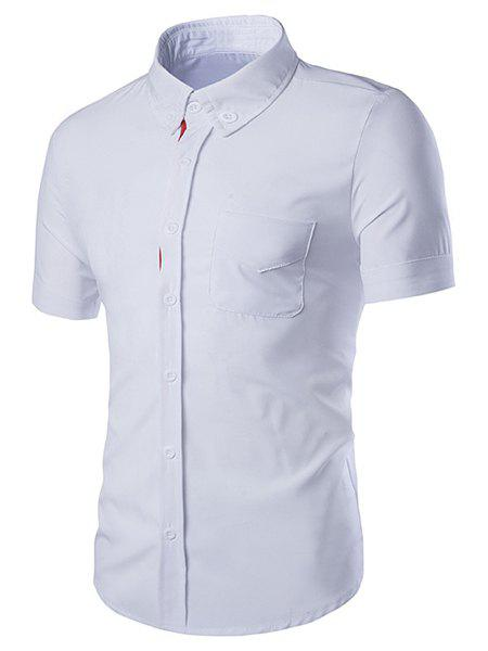 Turn-Down Collar Color Block Selvedge Embellished Short Sleeve Men's Shirt - M WHITE
