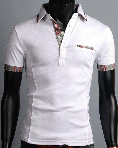 Elegant Turn-Down Collar Color Block Purfled Design Short Sleeve Men's Polo T-Shirt - WHITE 2XL