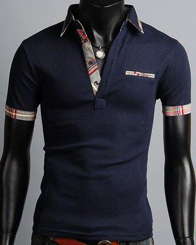 Elegant Turn-Down Collar Color Block Purfled Design Short Sleeve Men's Polo T-Shirt - CADETBLUE L
