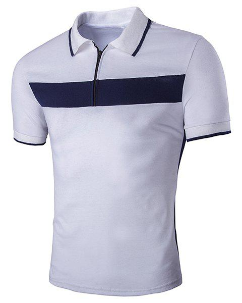 Turn-Down Collar Color Block Spliced Zipper Short Sleeve Men's T-Shirt - WHITE M