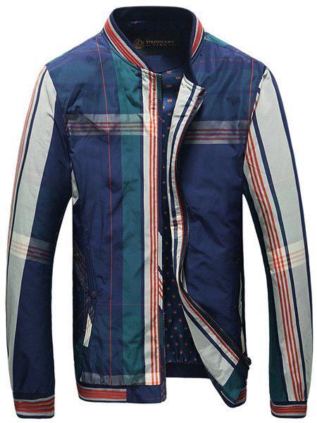 Rib Spliced Color Block Plaid Stand Collar Long Sleeves Men's Slim Fit Jacket - BLUE 3XL