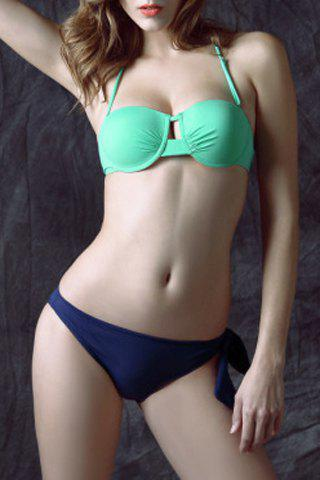 Sexy Halter Neck Backless Hollow Out Convertible Way Bikini Set For Women - BLUE/GREEN S