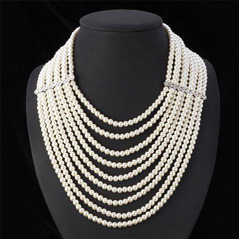 Rhinestone Faux Pearl Multilayered Necklace - WHITE