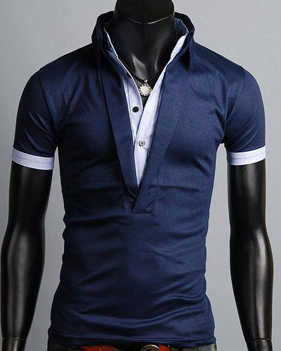 Turn-Down Collar Single Breasted Design Color Block Splicing Short Sleeve Men's Polo T-Shirt turn down collar single breasted design color block splicing short sleeve polo t shirt for men