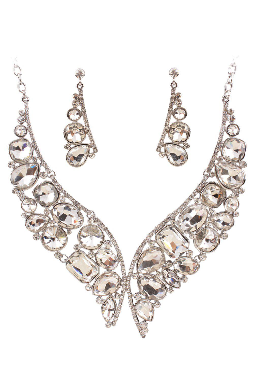 A Suit of Noble Faux Crystal Fake Collar Necklace and Earrings For Women - WHITE