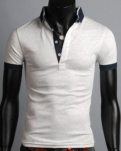 Turn-Down Collar Single Breasted Color Block Splicing Short Sleeve Men's Polo T-Shirt - GRAY M