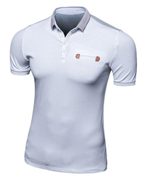 Half Button Color Block Short Sleeves Polo T-Shirt - GREY/WHITE M