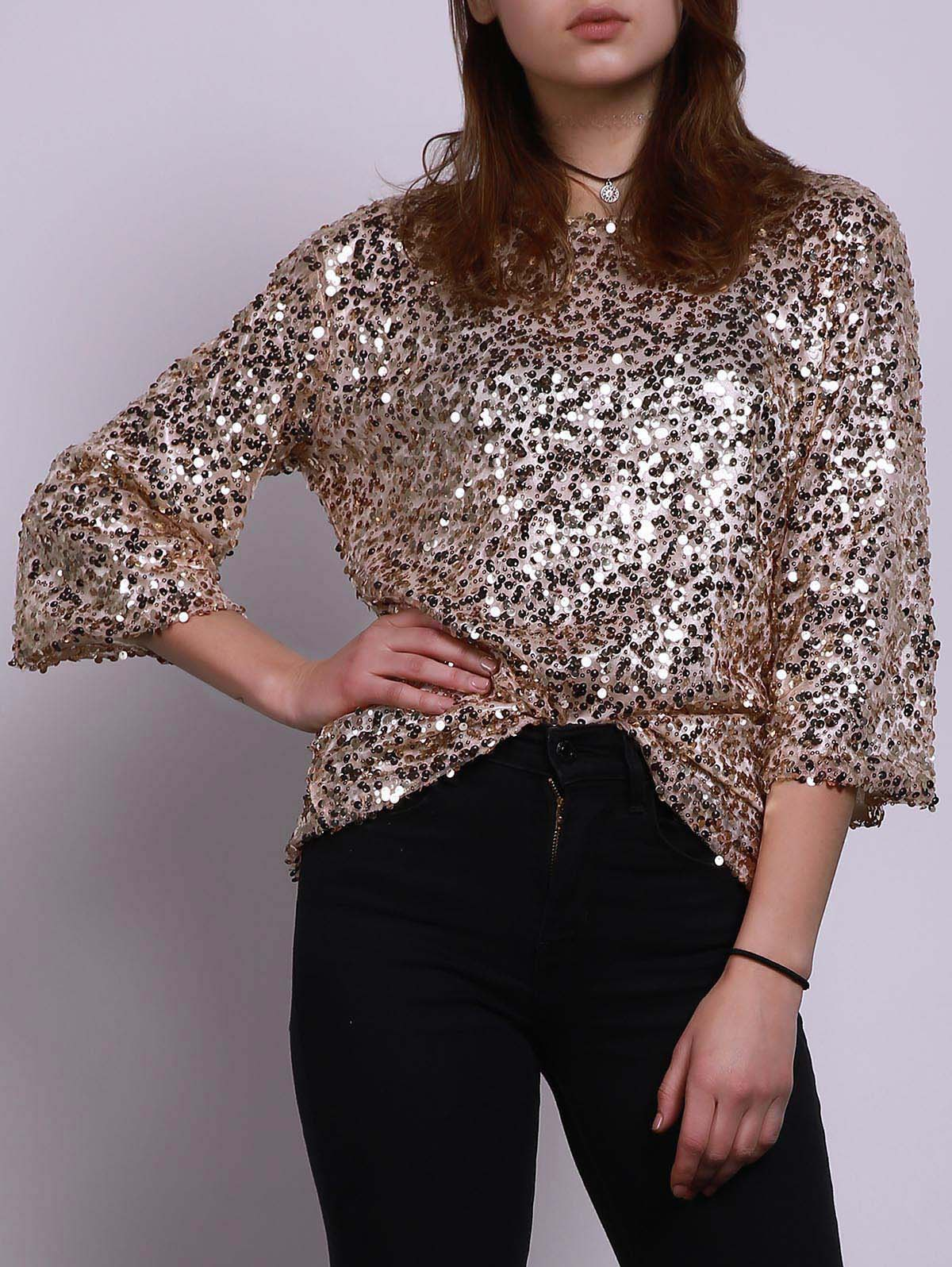 T-shirt élégant Jewel Neck moitié manches Paillettes Loose Women - Or M