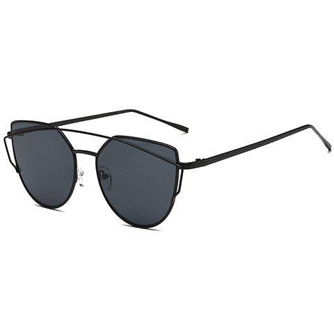 Chic Metal Bar Embellished Women's Black Sunglasses - BLACK
