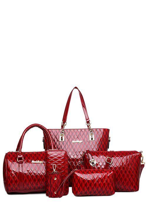 Trendy Checked and Patent Leather Design Shoulder Bag For Women patent leather handbag shoulder bag for women