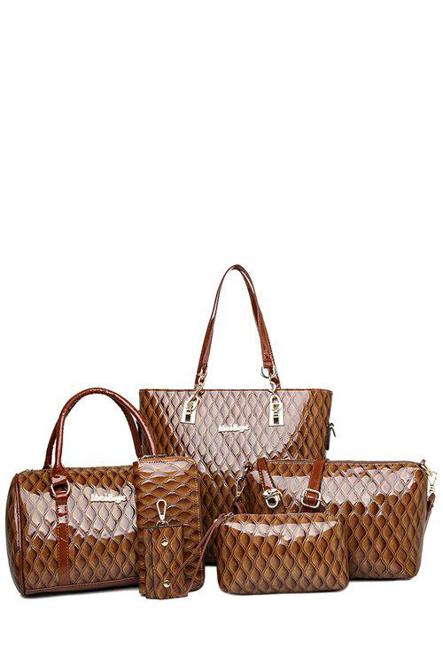 Trendy Checked and Patent Leather Design Shoulder Bag For Women - COFFEE
