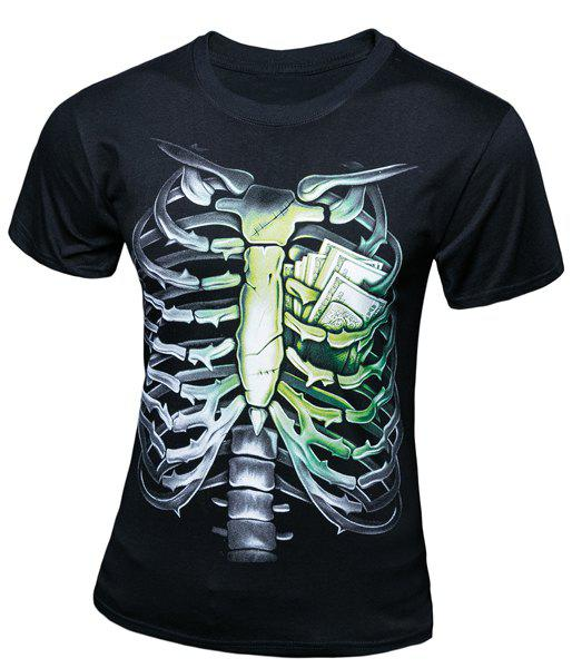 Slim Fit Skeleton Printed Short Sleeves T-Shirt For Men - BLACK XL