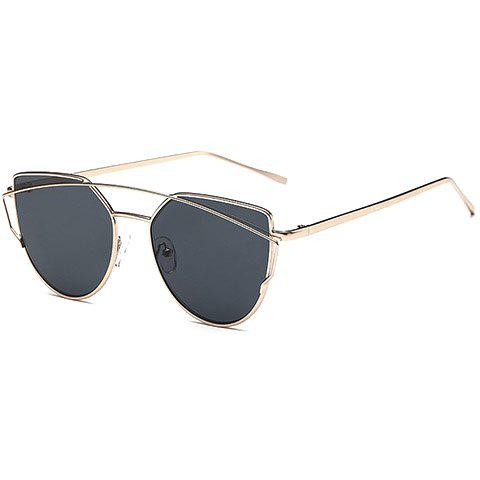 Chic Metal Bar Embellished Women's Gold Sunglasses - BLACK