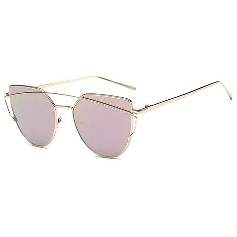 Chic Metal Bar Embellished Women's Gold Sunglasses - PINK
