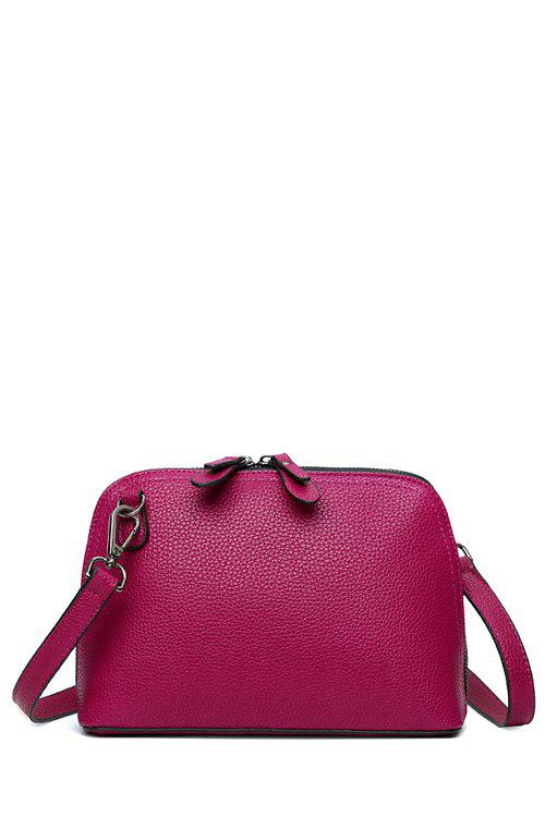 Sweet Solid Color and Stitching Design Crossbody Bag For Women - PURPLISH RED