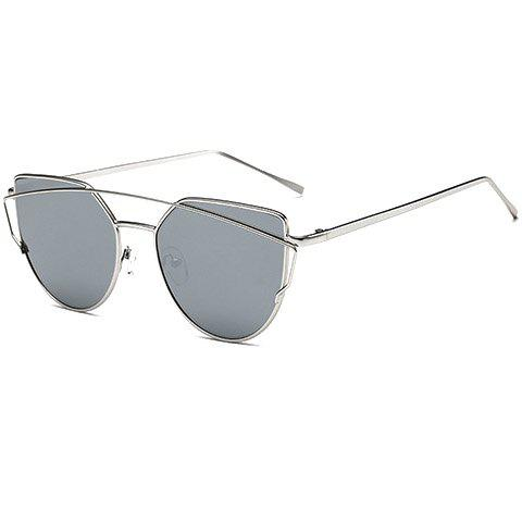 Chic Metal Bar Embellished Women's Silver Sunglasses - SILVER