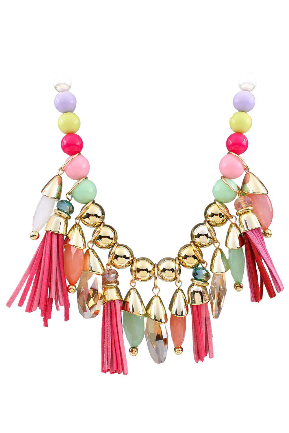 Ethnic Faux Leather Tassel Multi-Layered Necklace For Women - COLORMIX